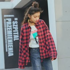 AiAi Bear - Oversized Plaid Shirt