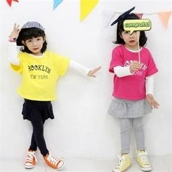 nanakids - Girls Set: Long-Sleeve T-Shirt + Lettering T-Shirt + Inset Skirt Leggings