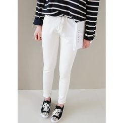 J-ANN - Drawstring-Waist Striped-Trim Tapered Pants