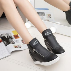 Danso - Letter Hidden Wedge Zip Sneakers