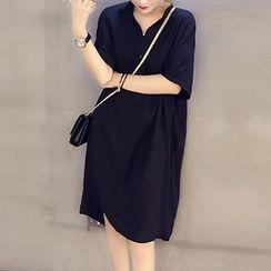 Fashion Street - Elbow Sleeve Split Neck Collared Dress