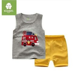 Endymion - Kids Set: Car Print Tank Top + Shorts
