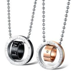 Tenri - Double Ring Couple Matching Stainless Steel Necklace