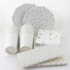 Palmy Parties - Star Print Disposable Plates / Cups / Paper Drinking Straws / Napkins