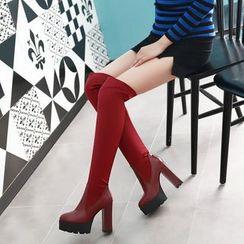 Kireina - Chunky-Heel Platform Over-the-Knee Boots