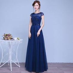 Luxury Style - Embellished Cap-Sleeve A-Line Evening Gown