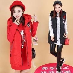 Prettin - Patch Embroidered Long Padded Vest