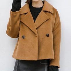 Heynew - 纯色双排扣毛呢大衣