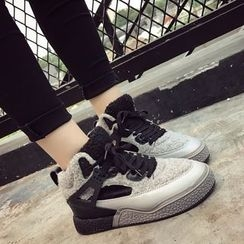 SouthBay Shoes - Fleece Lined Contrast Trim High Top Sneakers