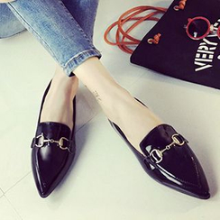 QQ Trend - Metallic Buckled Pointy Flats