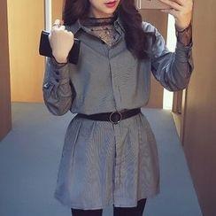 小谷粒 - 套裝: 細條紋襯衫裙 + 純色針織馬甲