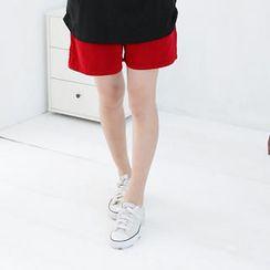 RingBear - 素面棉质中腰口袋休閒短裤