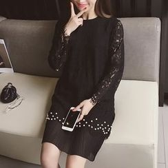 Cocofield - Pleated Hem Long Sleeve Lace Dress