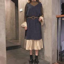 Harmonia - Set: Long Sleeve Midi Dress + V-Neck Corduroy Tank Dress