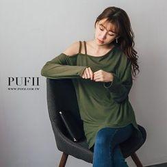 PUFII - 正韓雙肩帶斜肩長版上衣大學T