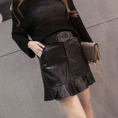 Fancy Show - Faux-Leather A-Line Skirt