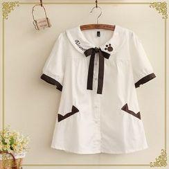 Fairyland - Short-Sleeve Tie Neck Blouse