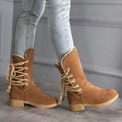 YOUIN - Fleece-Lining Tie-Up Short Boots