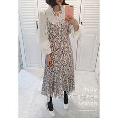 Miamasvin - Spaghetti-Strap Flower Pattern Long Dress