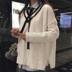 Dute - 條紋V領毛衣