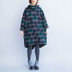 Dream Girl - Hooded Patterned Long-Sleeve Sweat Dress