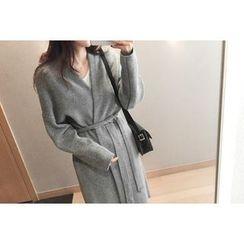 UPTOWNHOLIC - Open-Front Wool Blend Long Cardigan