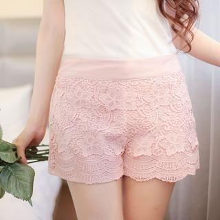 Tokyo Fashion - Elastic-Waist Crochet-Front Shorts