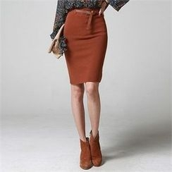 JVLLY - Knit Pencil Skirt with Belt