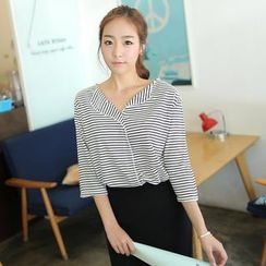 CLICK - Half-Placket Striped Top