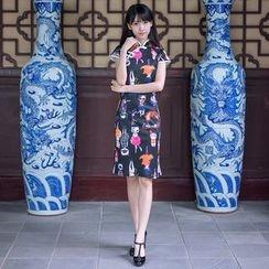 Aiyiruo - 短袖猫印花旗袍