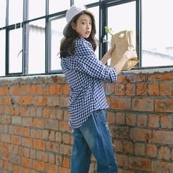 SUYISODA - Gingham Long-Sleeve Blouse