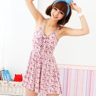 59 Seconds - Sleeveless Padded Lace-Up Floral Dress