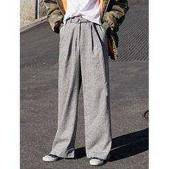 FROMBEGINNING - Wool Blend Wide-Leg Pants with Belt