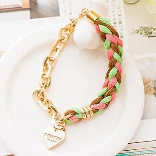 Miss Girl - Heart-Charm Braided Bracelet