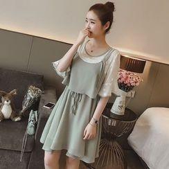 Munai - Inset Sheer Top Strappy Chiffon Dress