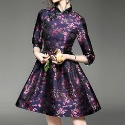 Alaroo - Floral Print Mandarin Collar A-Line Dress
