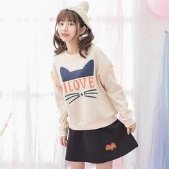 Moriville - Set: Cat Print Sweatshirt + Embroidered A-Line Skirt