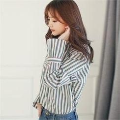 Styleberry - Frill-Sleeve Stripe Shirt