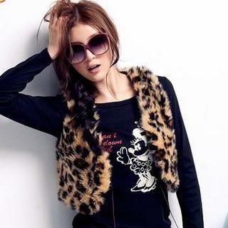 OrangeBear - Faux-Fur Leopard-Print Vest