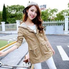 CASSY - Lace-Panel Hooded Zip Coat