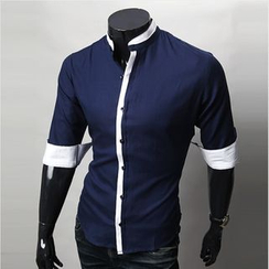 WIZIKOREA - 3/4-Sleeve Shirt