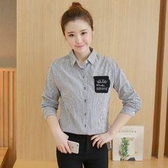 lilygirl - 條紋長袖襯衫