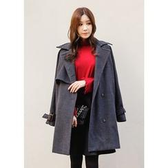 J-ANN - Wool Double-Breasted Coat