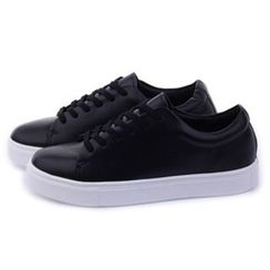 Ohkkage - Faux-Leather Lace-Up Sneakers