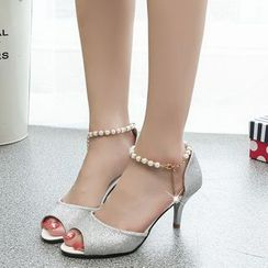 Wello - Faux Pearl Ankle Strap High Heel Sandals