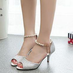 Wello - 仿珍珠踝帶高跟涼鞋
