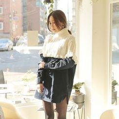 Cherryville - Color-Block Frilled Mini Dress