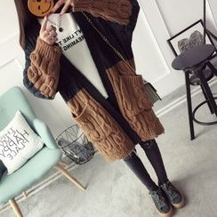 Qimi - Color Panel Cable Knit Long Cardigan