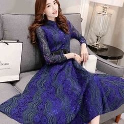 Enjoi - Lace Long-Sleeve Midi Dress