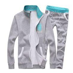 Alvicio - Set: Lettering Zip Up Jacket + Jogger Pants
